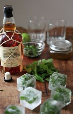 mint infused ice-cubes