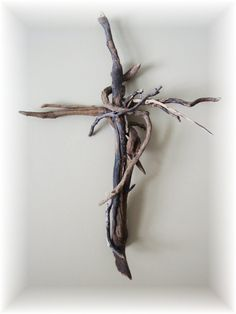 Driftwood Cross Cross Coastal Driftwood by HomeHearthGarden, $64.00
