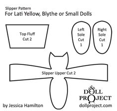 How to Make Tiny Slipper Shoes for Dolls - Patterns Included tini slipper, blythe patterns, doll patterns, pattern includ, shoe pattern, blythe shoes, slipper shoe