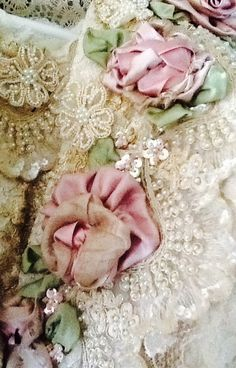 Silk ribbon flowers and pearls