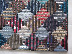 Courthouse Steps quilt made from ties and suits