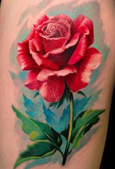 This rose tattoo makes great use of pastel colors. #InkedMagazin3v #tattoo #tattoos #inked #rose #roses #flower #floral