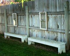 decks, fenc, garden benches, old windows, old frames