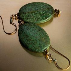 Green stone and copper bead earrings, snakeskin jasper jewelry