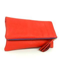 k.slademade Rose Red Fold Over Clutch