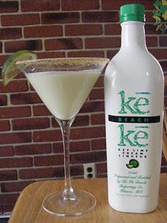 Key Lime Pie Martini:  6 T. vanilla flavored vodka 1/4 cup key lime liquor 2 T. pineapple juice 2 T. heavy whipping cream