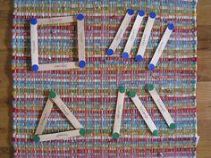 teaching shapes, shape activities, preschool shapes, craft sticks, buildings, dots, bags, geometry, crafts