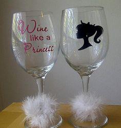 "cute glass vinyl ""wine like a princess"""