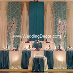 decor wedding, table decorations, wedding receptions, wedding planning, wedding decorations, teal weddings, wedding backdrops, grooms table, head tables