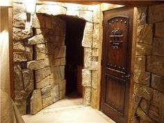 secret stone door - check this page for a pic of the door closed. Undetectable.