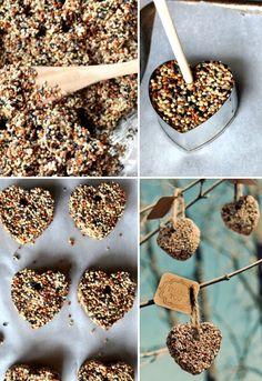 Easy Christmas gifts <3    DIY birdseed hearts.  Love this idea!