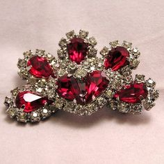 Beautiful Vintage Red Rhinestone Brooch by Happygirl37 on Etsy