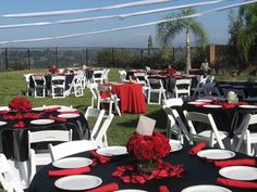 Wedding, Reception, White, Red, Blue, Black, And, Outdoor wedding