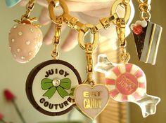 fashion, juici coutur, charm bracelets, cakes, juicy couture, chains, candies, bows, accessories