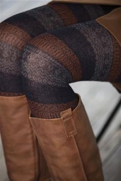 Striped tights? Adorable! fall fashions, fall tight, leather boots, dress, outfit, tights, fall boots, brown boots, stripe