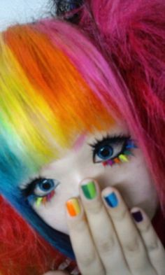 Colorful hair, eyes and nails