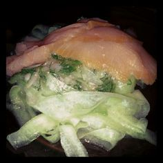 Lemon and herb Cucumber salad w/ Smoked Salmon - Facebook.com/figsandpears