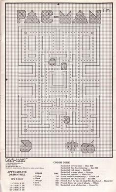 Pac-Man cross stitch pattern