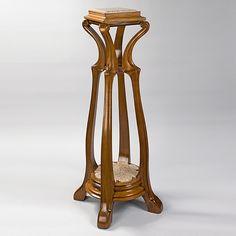 "Eugéne Gaillard - Pedestal. Carved Walnut with a Marble Top. Circa 1900. 48"" x 17-1/2"" x 22-3/4""."