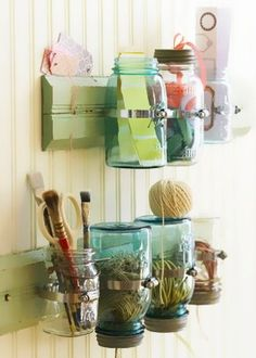 Great storage idea. I could store my yarn and make a hole in the cap and feed the yarn through it