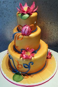 Lotus Indian Themed Wedding Cake  Lotus Indian Themed Wedding Cake