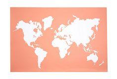 modern map, maps, print map, prints, wall, coral print, map print