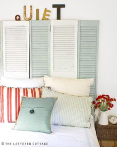 "shutters as headboards | Decorating with Vintage ""Goodies"" {by Layla from The Lettered ..."