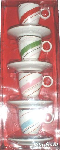 $29.99  2007 Starbucks Coffee Holiday Candy Cane Mug Cup Saucer Espresso Set of 4 New | eBay