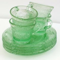 Green Depression Glass Depression Glass Green Glass by WhimzyThyme by lidia