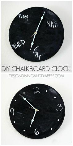 diy clock ideas, kids chalkboard ideas, diy clocks for kids, diy chalkboard, clocks diy