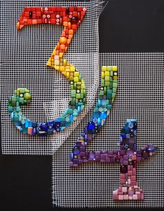 Mosaic house numbers by laura pattison