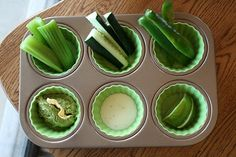 Green vegetables with dip