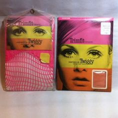 ©1967 TWIGGY trimfit tights and hosiery unused Mod Fashion Model