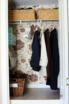 Wall paper the inside of a closet...or paint it to add some fun color!    #IHeartOrganizing closet idea, hall closet, coat closet, closets, closet organization, closet dream, basket, hous, closet storage