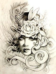 Victorian Style Tattoos   Beautiful victorian, steampunk style woman tattoo flash   Tattoo Flash http://tattoo-ideas.us