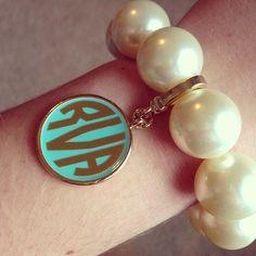 pearl bracelets, monogram