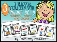 "I Have You Have Game Card Sets for Colors, Numbers, and Shapes - Pre-K to K from Teach Easy Resources on TeachersNotebook.com -  (33 pages)  - Practise identifying colors, numbers, and shapes with this pack of 3 ""I Have, You Have"" game card sets.  20 cards per set - 60 cards in total.  Perfect activity for your Pre-K to K circle time!"