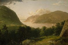 John Frederick Kensett (American,1816–1872). Hudson River Scene, 1857. The Metropolitan Museum of Art, New York. Gift of H. D. Babcock, in memory of his father, S. D. Babcock, 1907 (07.162) | As he often did in the many paintings of popular American resorts that he produced throughout his career, Kensett included in the foreground the diminutive figures of genteel tourists, perhaps enjoying a picnic on the slope of this overlook above the West Point parade grounds.