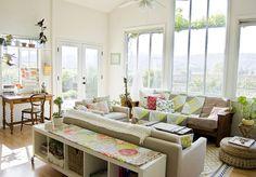 sofa tables, interior, living rooms, window, santa barbara, farmhouse living, live room, light, budget decorating