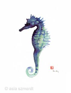 SEAHORSE Sea Horse Blue Fish Water Colors collection Fishes GICLEE fine art print of watercolor PAINTING