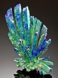 Azurite crystals changing to malachite.