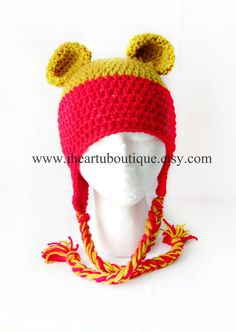 Pooh Bear inspired crochet hat <3