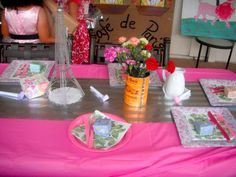 Paris Themed Birthday Party table setting