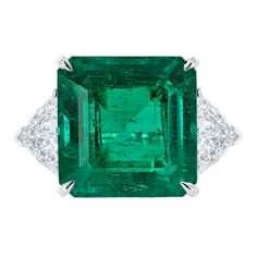 Tiffany & Co 11.42 Colombian Emerald and Diamond Ring