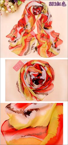 New Georgette Silk Long Chiffon Scarf red