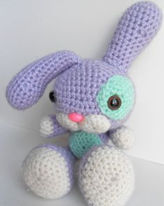 Amigurumi Easter Rabbit, Lilac with Mint Green Patches.