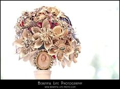 Brooch and Paper Flower Bouquet (with memorial brooch)     Beautiful Life Photography | Chico, CA Wedding and Portrait Photographer