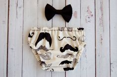 Baby Boy Mustache Diaper Cover And Matching Bow Tie by DoodleDooz, $18.00