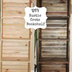 DIY Crate Bookshelf - could use at an outdoor party? This post has good tips on aging wood with steel wool/vinegar
