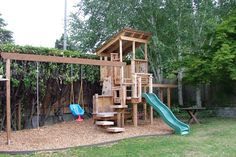 play structure with floating steps